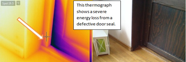 Infrared image of a door seal that needs to be replaced.