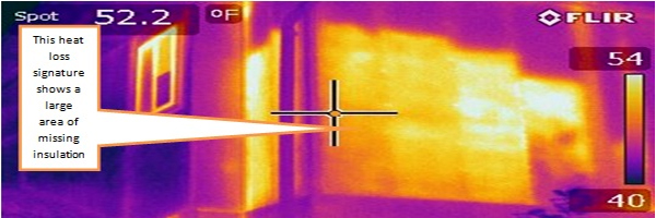 Infrared image of a wall that doesn't have any insulation behind it.